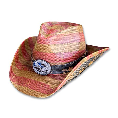 6dc82c1a7 Vintage Classic Distressed USA American Flag w/ Eagle Emblem Cowboy Hat w/  Western Shape-It Brim