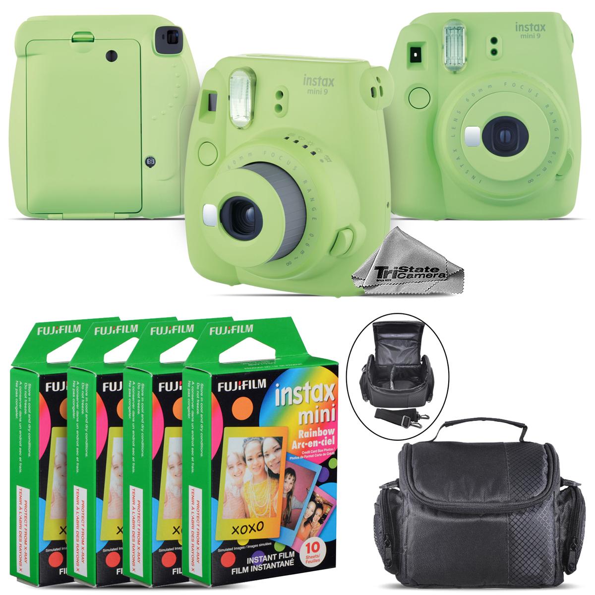 FujiFilm instax mini 9 Film Camera (Lime Green) + Large Case 40 Films Kit by Tri State Camera