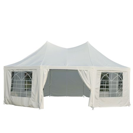 Outsunny 22' x 16' Large Octagon 8-Wall Party Canopy Gazebo Tent - White ()