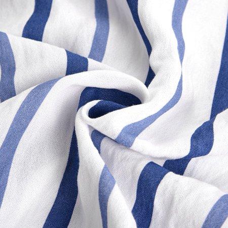 Yosoo Femmes à la mode bleu blanc rayé à manches longues col en v chemisier occasionnel lâche chemises, chemisier à col en v, chemisier à rayures - image 1 de 8