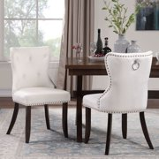 Upholstered Dining Chairs, Tufted Velvet Studded Dining Chair with Solid Wood Legs, Armless Dining Room Chair, Beige Accent Chair Set of 2, Kitchen, Bedroom, Living Room Chair, Modern Furniture, W7278