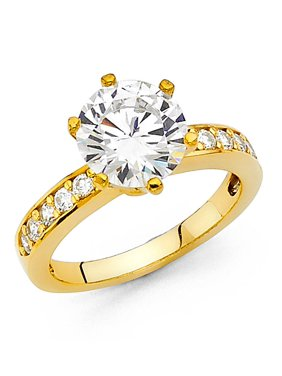 14K Solid Yellow Gold 2.75 cttw Round Cut Cubic Zirconia with Side Stones Wedding Engagement Ring , Size 6
