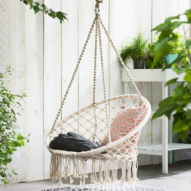 47 2 Indoor Hanging Chair Macrame Hammock Swing Chair Cotton Rope Outdoor Garden 260lb Walmart Com Walmart Com