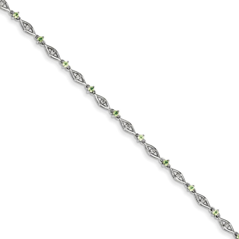 Sterling Silver Peridot Diamond Bracelet .02 dwt .59 cwt by