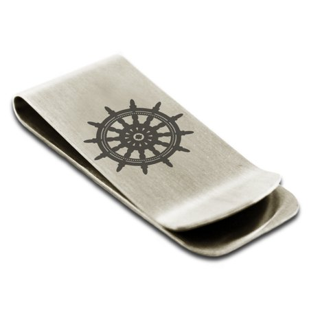 Stainless Steel Nautical Ship Helm Wheel Engraved Money Clip Credit Card Holder](Ships Helm)
