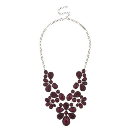 Lux Accessories Faceted Caviar Plum Teardrop Stone Large Statement Rhodium Chain Necklace ()
