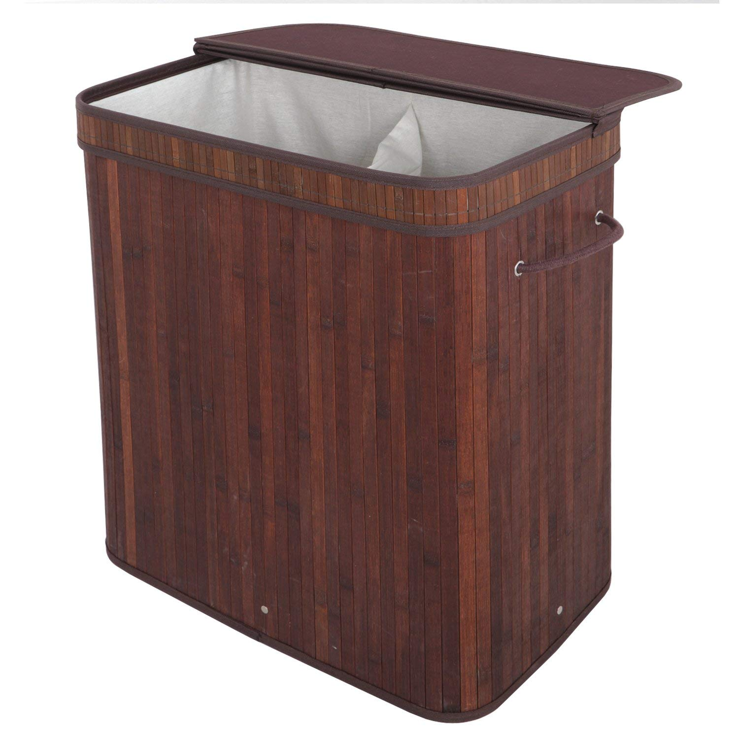 Zeny Laundry Hamper with lid 2 Section Dirty Clothes Basket Double Compartment Sorter