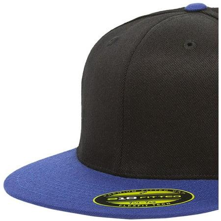 The Hat Pros Blank Flexfit 6210 Premium Fitted 210 Cap Small/Medium -  Black/Royal
