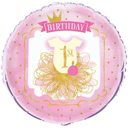 Foil Girl's First Birthday Balloon, Pink & Gold, 18in, 4-Pack (4 Balloons) - First Birthday Balloon