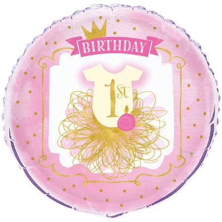 "(4 Pack) 18"" Foil Pink and Gold Girl's First Birthday Balloon"