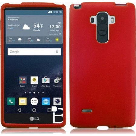 For LG G Stylo LS770 G4 Stylus Rubberized Snap On Plastic Case - Red Dark Red Rubberized Snap