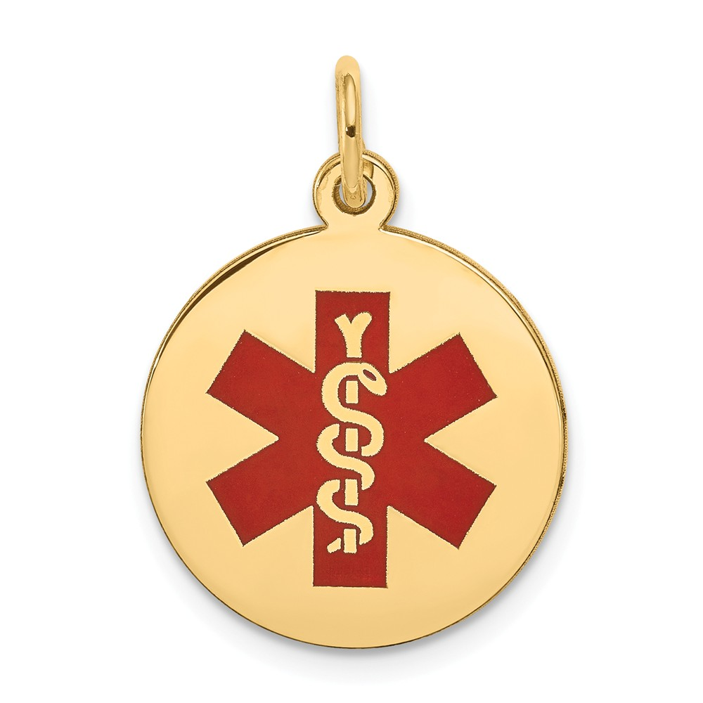 14k Yellow Gold Engravable Medical Jewelry Pendant