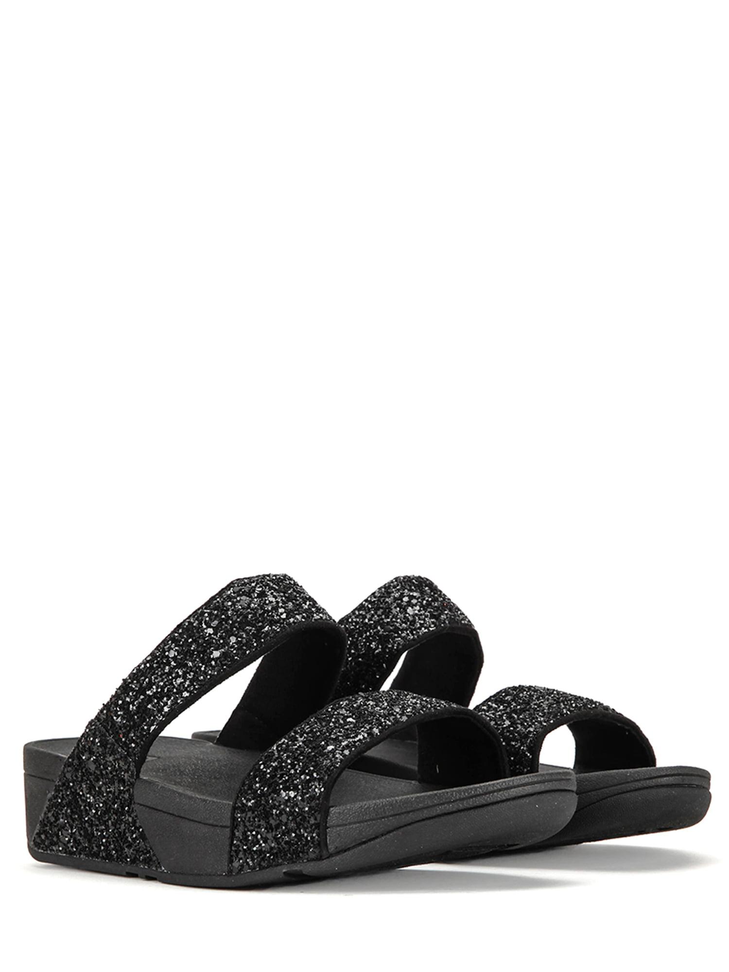 FitFlop Women's Glitterball Slide Sandals H24-001 Black