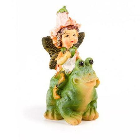 Darice 161518 Fairy Garden Figurines Mini Fairy on Frog - Mini Frogs