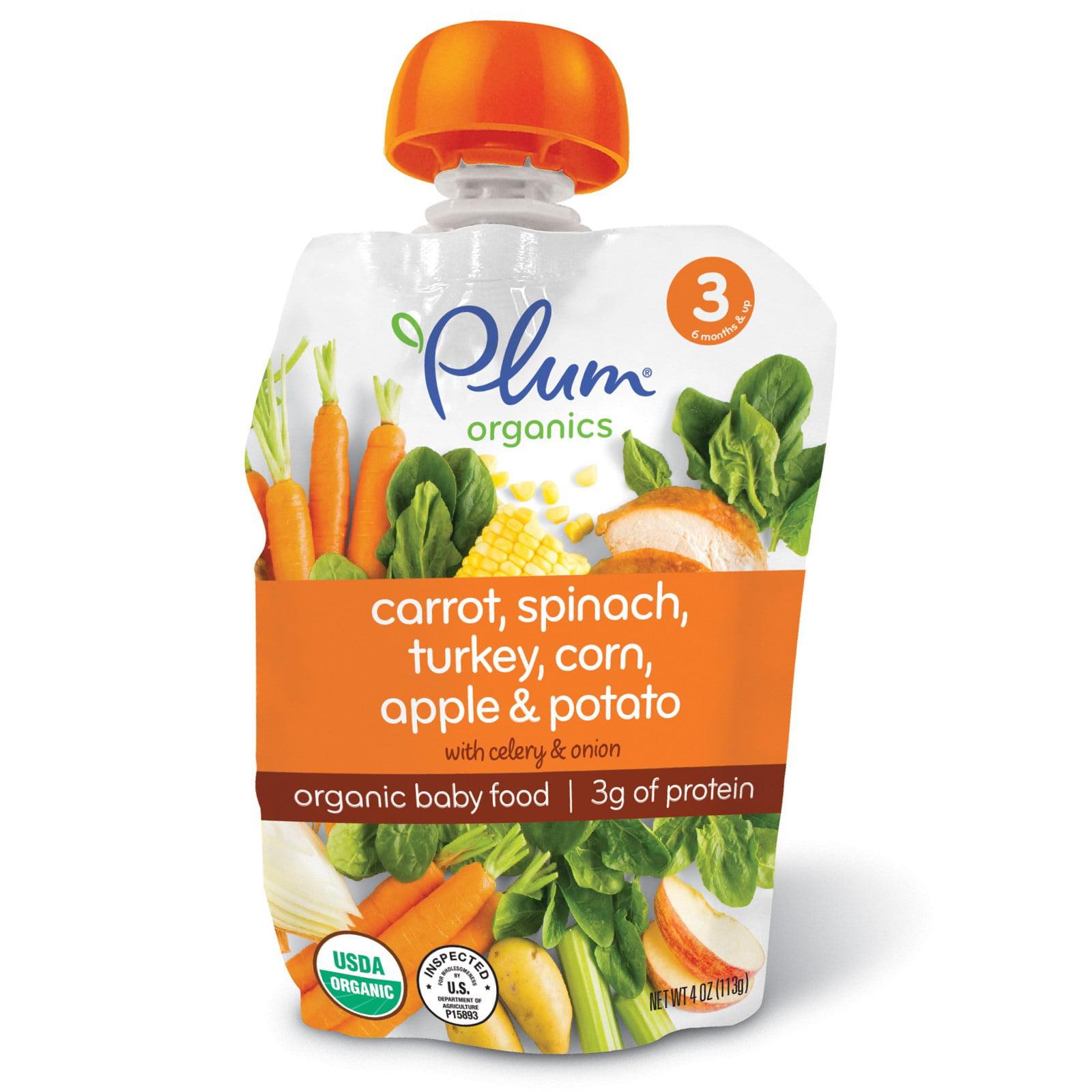 Plum Organics, Organic Baby Food, Stage 3, Carrot, Spinach, Turkey, Corn, Apple & Potato, 4 oz (pack of 4)