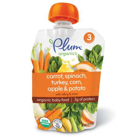 Plum Organics, Organic Baby Food, Stage 3, Carrot, Spinach, Turkey, Corn, Apple & Potato, 4 oz (pack of 4) (Fresh Spinach)
