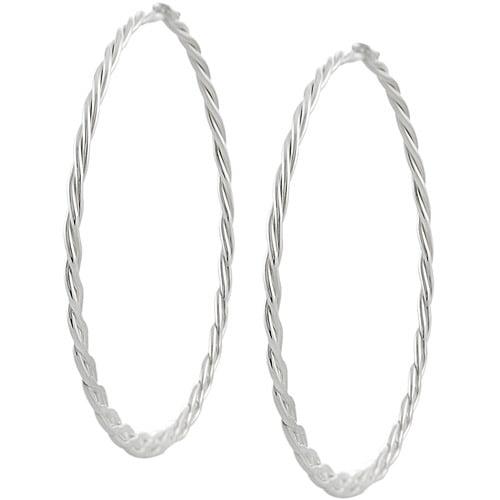 Brinley Co. Sterling Silver 45mm Braided Hoop Earrings