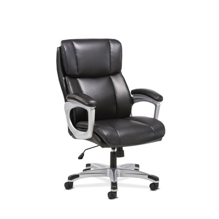 Sadie Executive Computer Chair- Fixed Arms for Office Desk, Black Leather