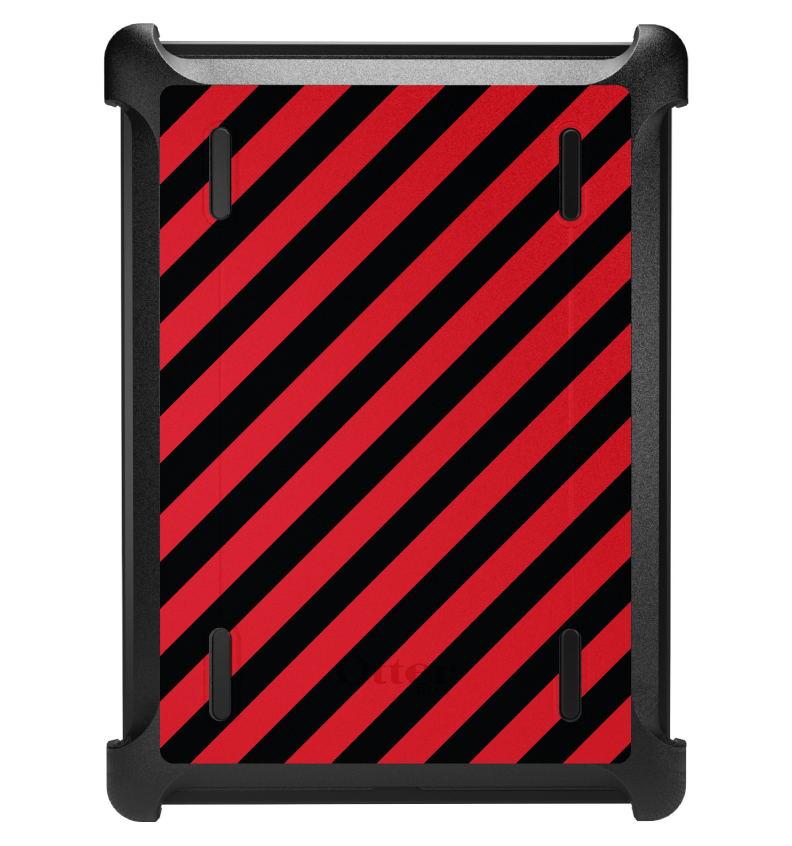 CUSTOM Black OtterBox Defender Series Case for Apple iPad Air 1 (2013 Model) - Black Red Diagonal Stripes