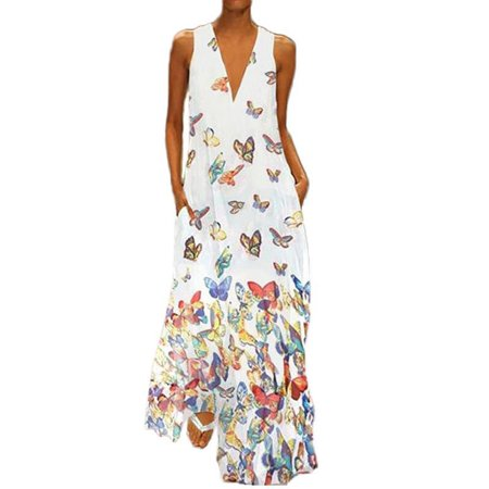 Women's V Neck Loose Sleeveless Casual Pockets Long Dress Beach Sundress
