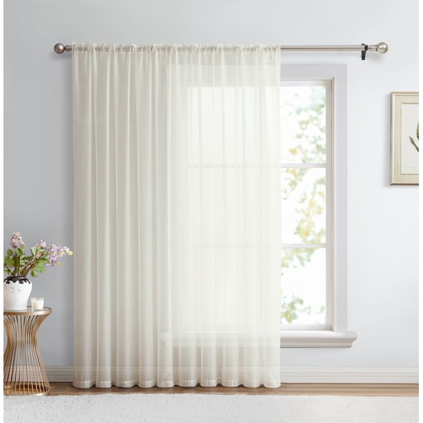 Hlc Me Sheer Voile Window Curtain Panel, 100 Inch Wide Curtains
