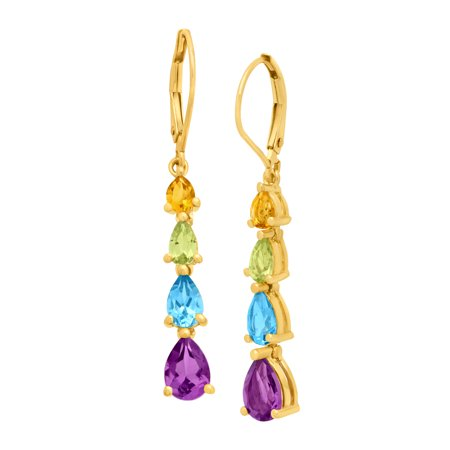 3 ct Pear-Cut Natural Citrine, Peridot, Swiss Blue Topaz and Amethyst Drop Earrings in 10kt Gold
