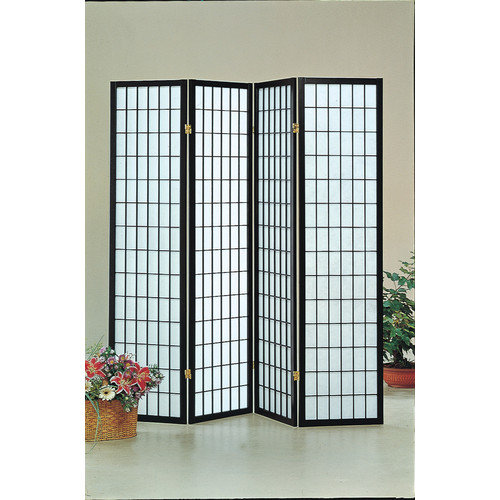 World Imports Furnishings Four Panel Screen in Black