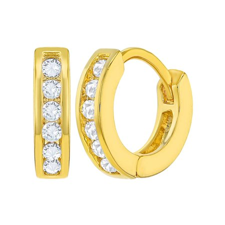 18k Gold Plated Clear Small Hoop Earrings Children's Kids Toddlers 0.39