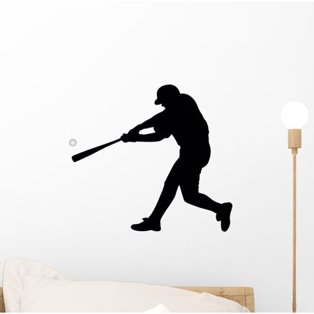 Baseball Silhouette Wall Decal by Wallmonkeys Peel and Stick Graphic (12 in W x 11 in H) WM47004 (Baseball Silhouette)