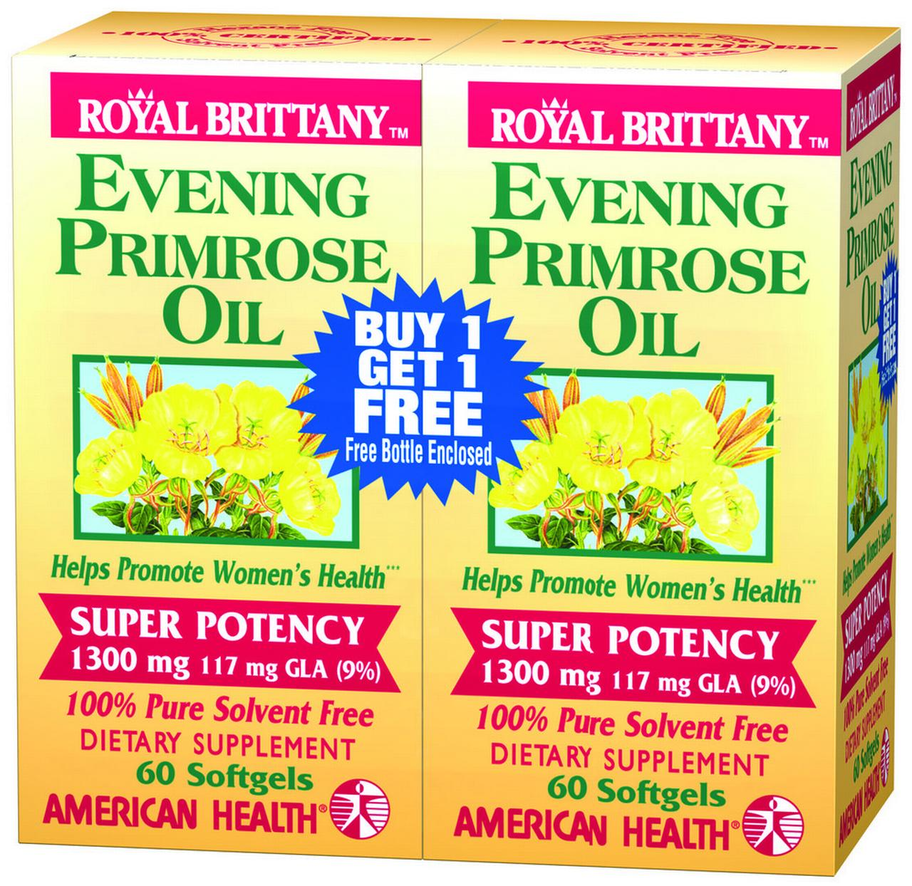 Evening Primrose Oil 1300mg Royal Brittany Twin Pack American Health Products 60 60 Softgel