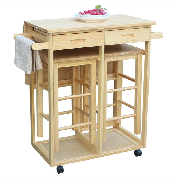 Folding Kitchen Island Set Wooden Rolling Kitchen Cart With Drawers 2 Stools Kitchen Table And Chair