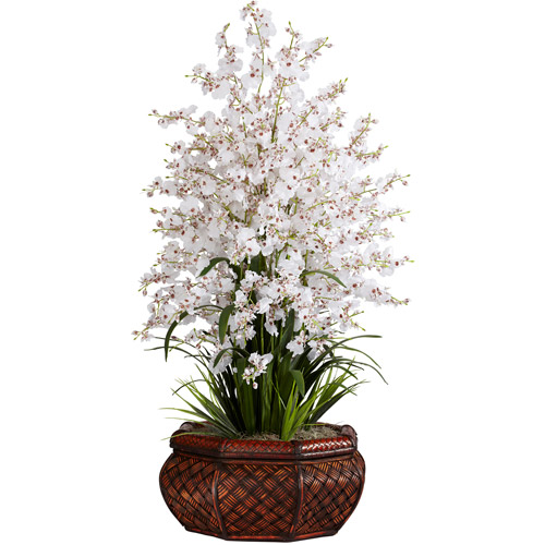 Nearly Natural Large Dancing Lady with Round Vase Silk Flower Arrangement, White