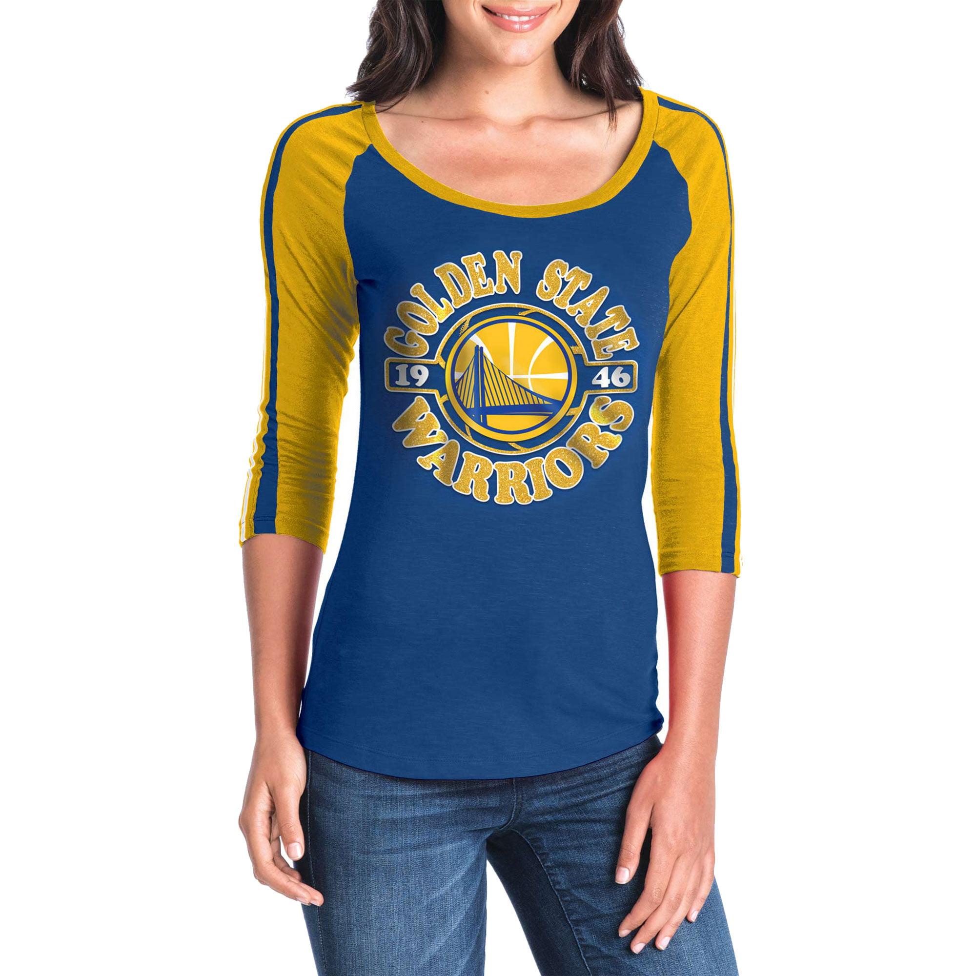 Women's New Era Royal/Gold Golden State Warriors Slub Jersey T-Shirt