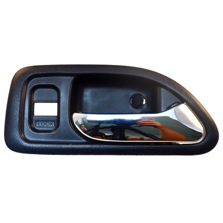 PT Auto Warehouse HO-2579MJFR2 - Inner Interior Inside Door Handle, Blue Housing with Chrome Lever - without Power Window Switch Hole, 4-Door Sedan, Passenger Side Front