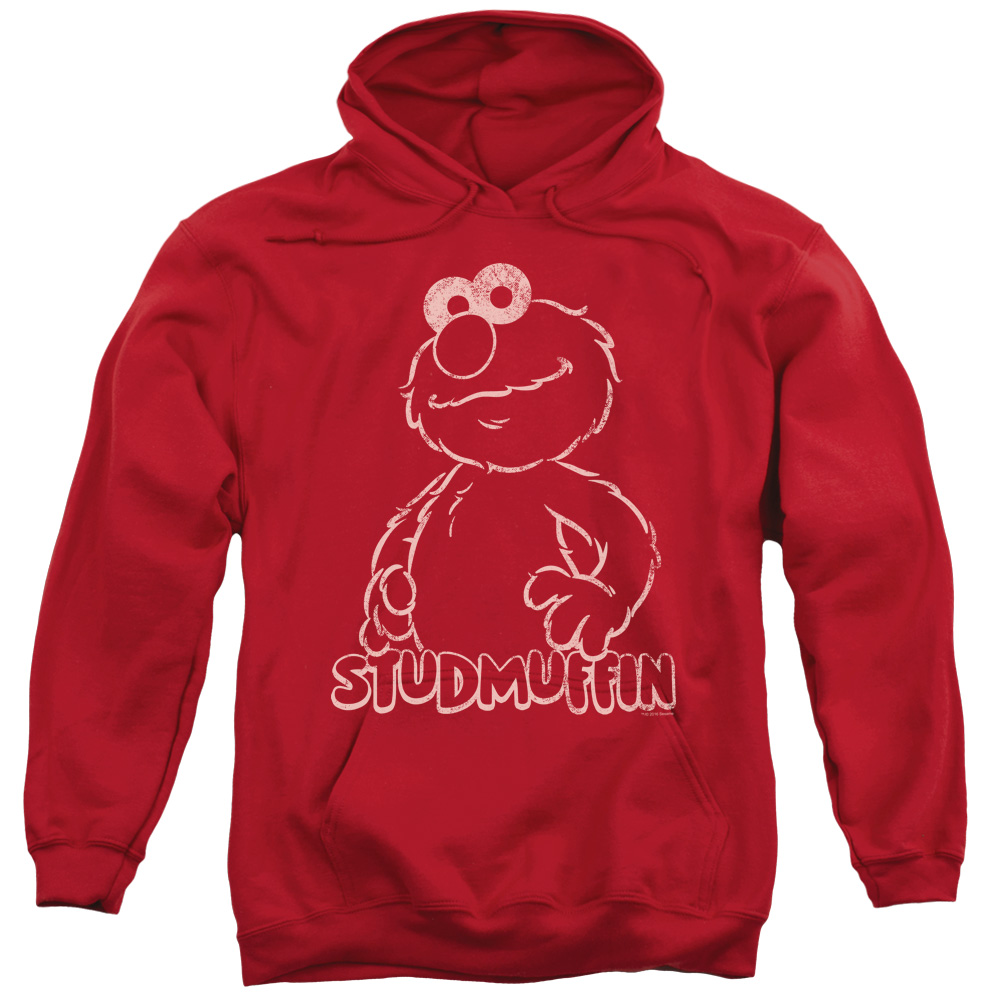 SESAME STREET/STUDMUFFIN-ADULT PULL-OVER HOODIE-RED-XL