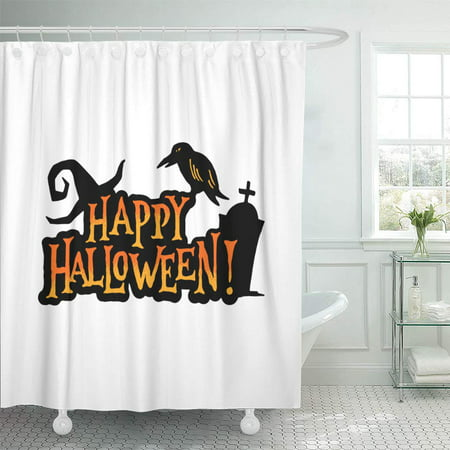 Halloween Day Celebration (PKNMT October Happy Halloween Badge of Witch Hat Raven and Gravestone Celebration Day Bathroom Shower Curtains 60x72)