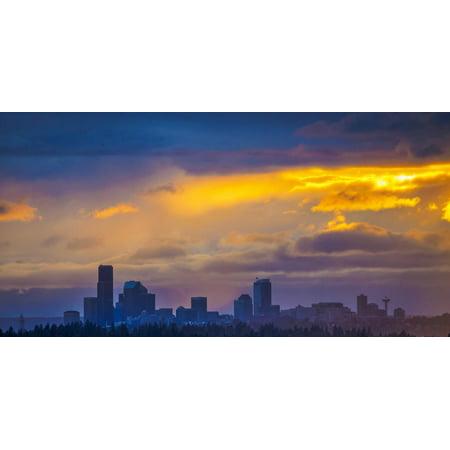 USA, Washington State, Lake Washington, Seattle skyline at sunset. Print Wall Art By John & Lisa Merrill