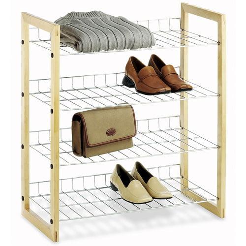 Whitmor Natural Wood and Chrome 4 Tier Closet Storage Shelves