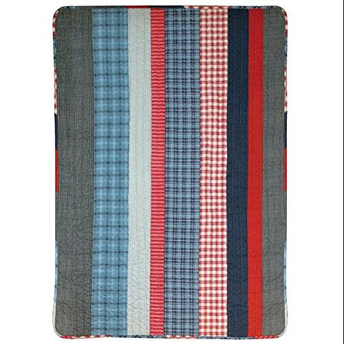 Stephan Baby 027935 Quilt Plaid - Red, White & Blue