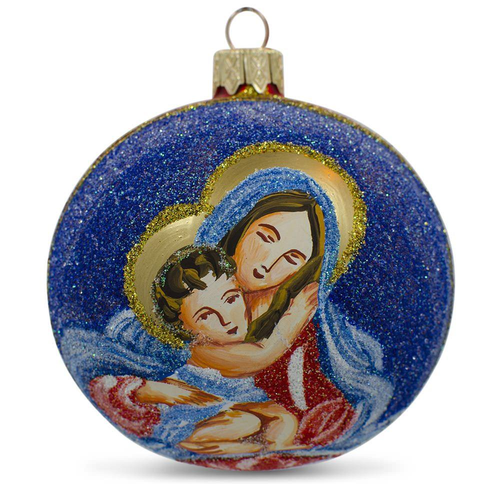 "3.25"" Virgin Mary Holding Jesus Glass Ball Christmas Ornament"