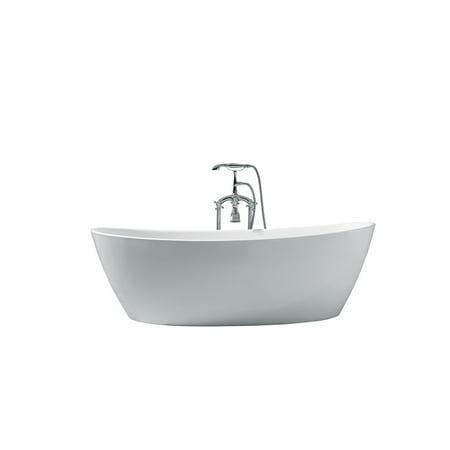 70 in Acrylic Center Drain Oval Flat Bottom Freestanding Bathtub in Wh