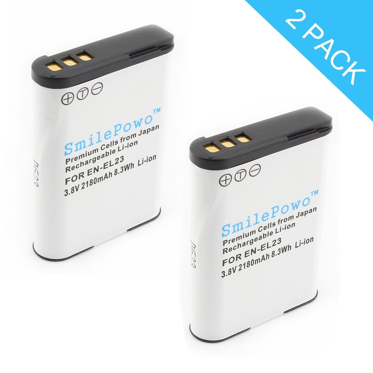 SmilePowo 2 Pack EN-EL23 Battery for Nikon Coolpix B700, P900, P600, P610, S810c Digital Camera (Chip automa