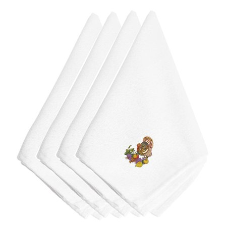 - Thanksgiving Turkey and Fruit Embroidered Napkins Set of 4 EMBT3501NPKE