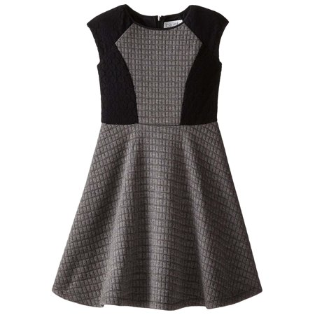 8d239ede4bc27 Blush By Us Angels - Big Girls Tween 7-16 Grey/Black Colorblock Quilted  Double Knit and Lace Fit Flare Dress, 10 [BLS93434] - Walmart.com