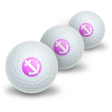 Anchor Boat Sailing Pink Novelty Golf Balls, 3pk (Boat Poly Balls)