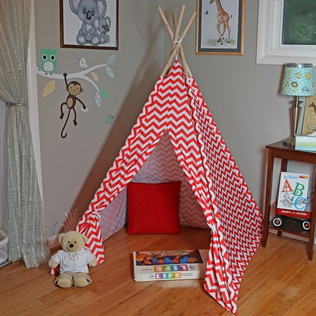 Sunnydaze Kids Teepee Tent with Carrying Case, Children Play Tent for Indoor or Outdoor Use, 5 Foot, Red Chevron