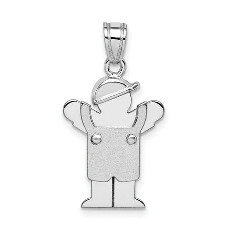 14k White Gold Small Boy with Hat on Left Engravable Charm (1in long x 0.5in wide)