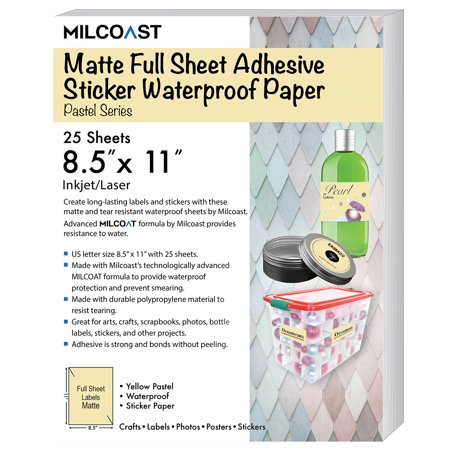 "Milcoast Matte Colored Full Sheet 8.5 x 11"" Adhesive Tear Resistant Waterproof Photo Craft Paper – For Inkjet / Laser Printers (25 Sheets)"