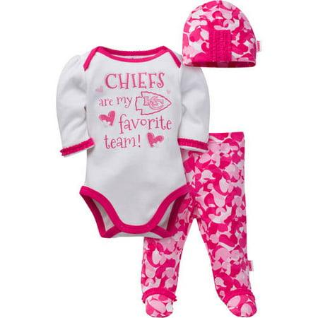 249adf90 NFL Kansas City Chiefs Baby Girls Bodysuit, Pant and Cap Outfit Set, 3-Piece