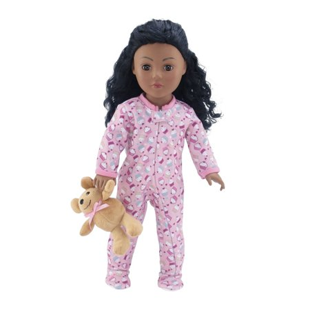 18 Inch Doll Clothes |Adorable Footed Pink Cupcake Print Pajama Outfit Onesie with Teddy Bear | Fits American Girl - Cupcake Outfit